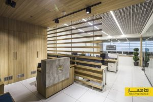 طراحی داخلی دفتر کار مدرن با دکوراسیون چوبی