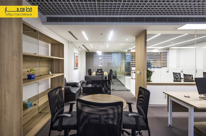طراحی دفتر کار مدرن با چوب |طراحی دکوراسیون اداری,دکوراسیون داخلی اداری,نورپردازی اداری