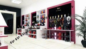 طراحی دکوراسیون داخلی فروشگاه لوازم آرایش آقای پناهنده
