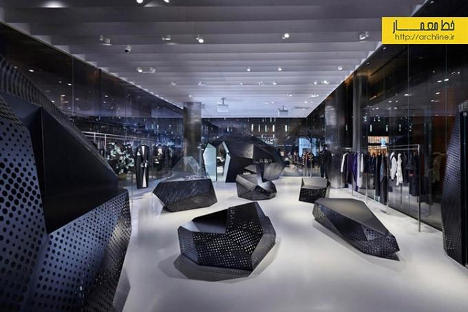 طراحی فروشگاه پوشاک با دکور مدرن   طراحی دکوراسیون مغازه,دکوراسیون داخلی مغازه,ویترین