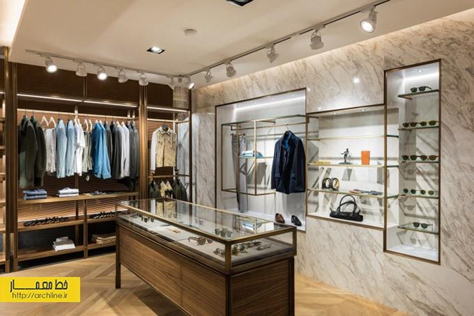 فروشگاه پوشاک مدرن برند | طراحی دکوراسیون مغازه,دکوراسیون داخلی مغازه,ویترین مغازه,دکور