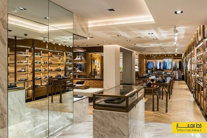 طراحی داخلی و نمای فروشگاه پوشاک مدرن برند Silver Deer