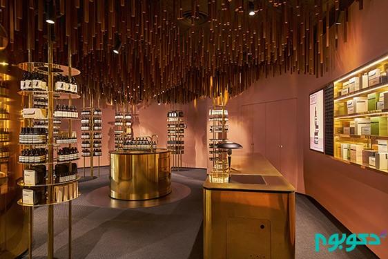 تزیینات چوبی جدید فروشگاه | طراحی دکوراسیون مغازه,دکوراسیون داخلی مغازه,نورپردازی مغازه