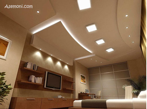 طرح کناف اتاق خواب جدید و شیک    سقف کاذب   دیوار پوش   کف پوش   کاغذ دیواری   کناف
